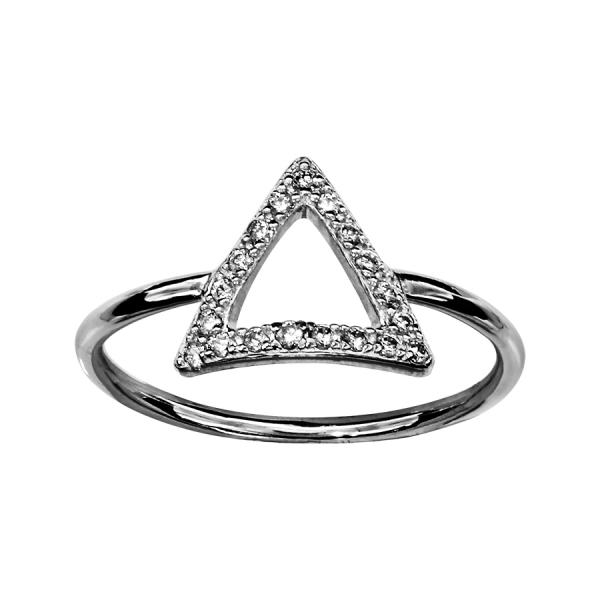 bague argent triangle