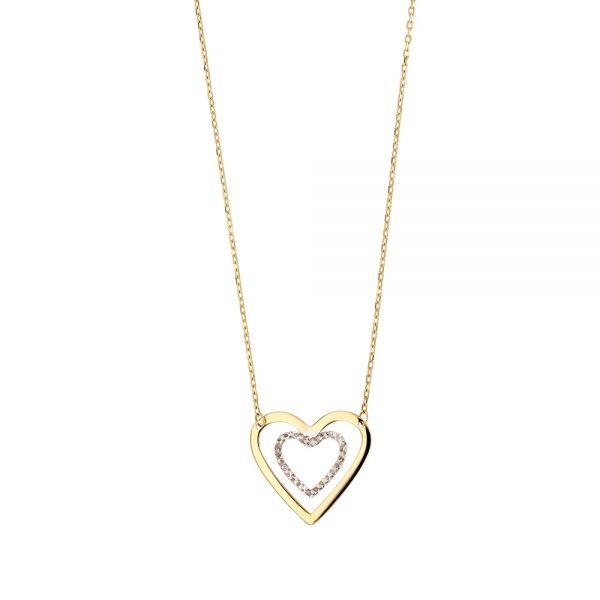 Collier en or bicolore coeur